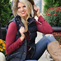 * Edith Fleece Lined Puffer Vest with Removable Hood : Navy