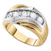Diamond Mens Ring in 14k Gold 1 ctw