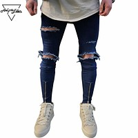 Spring New Hole Jeans Men Streetwear Casual Ripped Skinny Jeans Blue Zipper Jeans Home Wild Trousers