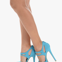 Turquoise Floral High Heels