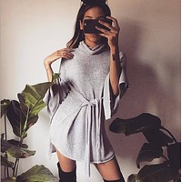 New sweater women 's high collar with sweater in the long paragraph loose stitch dress