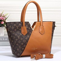 Louis Vuitton LV Women Shopping Leather Tote Crossbody Satchel Shoulder Bag Brown