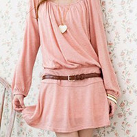 Pink Long Sleeves Belted Skater Dress