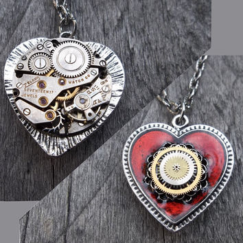 Clockpunk Steampunk Reversible Pendant Necklace, Gear-Encrusted Antiqued Silver & Red Heart/Watch Movement on Silver Curb Link Chain
