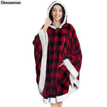 Wearable Blanket Hoodie Women Men Sherpa Fleece Hooded Sweatshirt Outdoor Winter Warm Slant Robe Bathrobe Blanket Sweatshirt