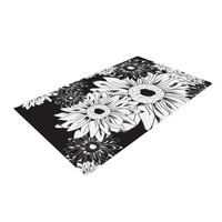 "Laura Escalante ""Midnight Florals"" Black Sunflower Woven Area Rug"
