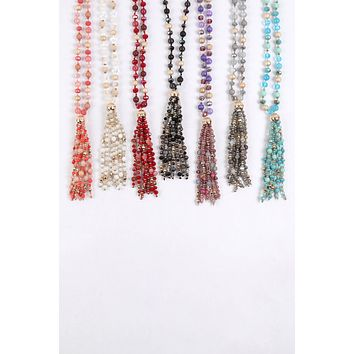 HDN3109 - BEADED TASSEL STATEMENT NECKLACE