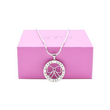 Pink Box Women's Inspirational Emblem Necklace