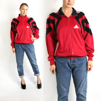 Vintage 80's 90's Red Black Stripes Sport Track Jacket, Adidas Windbreaker, Trefoil Jacket