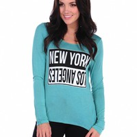 "Vintage Havana ""New York/Los Angeles"" Hem Top"