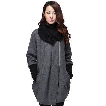 Plus Size Women's Winter Wool Coats Spring Autumn Thick Warm Female Woolen Coat Knitted Collar Asymmetrical Cocoon Outerwear
