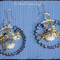 Star Fish, Sea Horse, Sand Dollar, Sea Shell, Wire Wrapped, Hoop Earrings, Sterling, Nautical, Ocean, Blue, Cottage Chic, Vacation Jewelry,