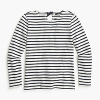 J.Crew Womens Striped T-Shirt With Bow-Embellished Back