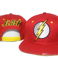 1pcs free shipping Red FLASH cartoon Snapback hats with embroidery fashion hip-hop cap flat -brimmed hats for men and women snapback caps DD