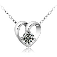 Sterling Silver Crystal Heart Pendant Necklace Fashion Jewelry