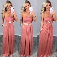 Your So Classic Pocket Maxi Dress - Rose