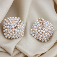 ExquisiteFashion OL Style Women Stud Earrings Pearl Rhombus Crystal Rhinestone #LSN