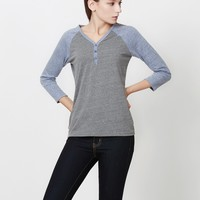 3/4 Raglan Sleeve Color Block Henley Shirt Top (CLEARANCE)
