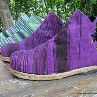 Funky Womens Ankle Boots Seafoam Green or Violet Hmong Hemp Short Boot