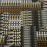 Broken Circles Print ITY Knit Fabric in White, Black, Brown and Taupe per Half Yard