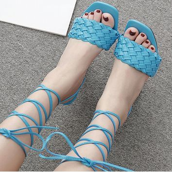 Explosive hot selling fashion woven high heel sandals shoes