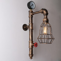 Copper Rustic Vintage Metal Cage Shade Water Pipe Wall Light Max. 40W