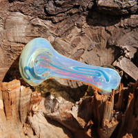 Glass Pipe Smoking Bubble Aqua Blue Orange Swirl Design 3.5 inch Fancy Hippie Made in the USA Tobacco Use Only Quality Art Bowl