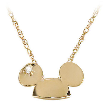 14-Kt. Gold and Diamond Mickey Mouse Ears Hat Necklace from the Disney Dream Collection | Disney Store