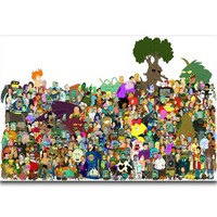 S1211 Futurama Bender Philip J Fry Classic Cartoon All Characters Wall Art Painting Print On Silk Canvas Poster Home Decoration