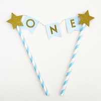 Blue Gold One Year Old Happy First Birthday Cake Topper Flag Banner Gold Glitter Stars