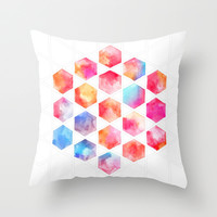 Radiant Hexagons - geometric watercolor painting Throw Pillow by micklyn