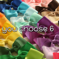 Large Classic Hairbows You Choose 6 Simple by SaraOlsenDesigns