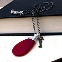 Cherry Red Sea Glass Necklace: Fine Silver Wire Wrapped Beach Valentine's Day Jewelry, Skeleton Key Gothic Chain Necklace