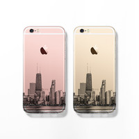 Chicago skyline iPhone 6 case, iPhone 6s case, clear transparent case, iPhone 5s case, iPhone 5C cover, cityscape, Christmas gift C056