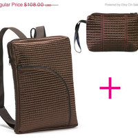 MOTHERS DAY GIFT On Sale Brown Backpack and Cosmetic Case, Medium size, padded vegan lap top backpack, urban bag - Top