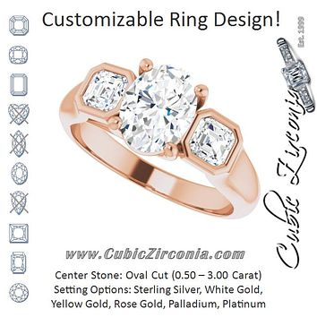 Cubic Zirconia Engagement Ring- The Alana Marie (Customizable 3-stone Cathedral Oval Cut Design with Twin Asscher Cut Side Stones)
