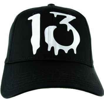 Number Thirteen Lucky 13 Hat Baseball Cap Blood Drip Occult Alternative Clothing Snapback