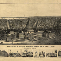 Antique Map of Washington D.C District of Columbia 1870  County