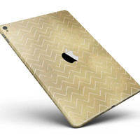 "The Golden Surface with White Chevron Full Body Skin for the iPad Pro (12.9"" or 9.7"" available)"