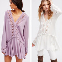 """Free People"" Fashion Bandage Hollow Embroidery Lace Stitching V-Neck Long Sleeve Mini Dress"