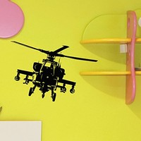 Helicopter Wall Decal Vinyl Sticker Army Military Attack Wall Decor Home Interior Design Art Mural Boys Room Kids Bedroom Dorm Z753
