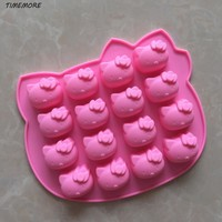 1 Pcs/set Kawaii Pink Hello kitty Shape Fondant Cake Pan Silicone Mold Sugar Craft Baking Pan Cake Decoration