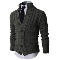 Mens Casual Knitted Button Down Cardigan Sweater