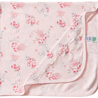 Little Me Baby-Girls Newborn Scroll Rose Blanket, Pink Floral, One Size