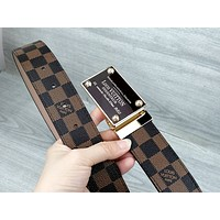 LV tide brand men and women retro classic old flower wild smooth buckle belt Coffee Check
