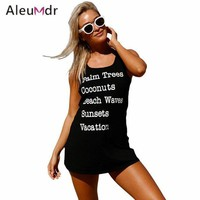 CREY8UV Aleumdr Saida De Praia Feminino 2017 Swimwear Women Dress Black Graphic Tank Swim Cover Up Dress Tunic For Beach LC420025
