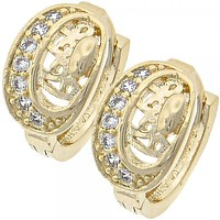 Gold Layered 02.165.0055 Huggie Hoop, with White Micro Pave, Polished Finish, Golden Tone