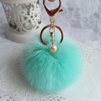 2016 Hot Sale Cute Pure Plush Ball Keychain Fluffy Rabbit Fur Bag Plush Car Key Ring Car Key Pendant Nov 1