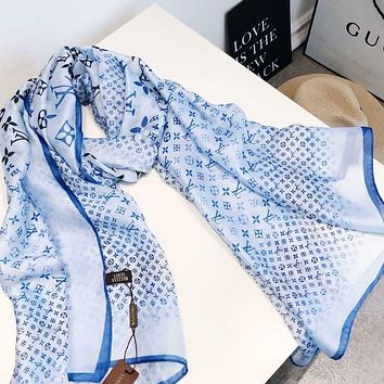 LV Louis Vuitton classic letter embroidery silk scarf gauze shawl silk scarf sunscreen gauze scarf Blue