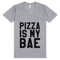Pizza Is My Bae V-neck T-shirt (id6100012)-Athletic Grey T-Shirt